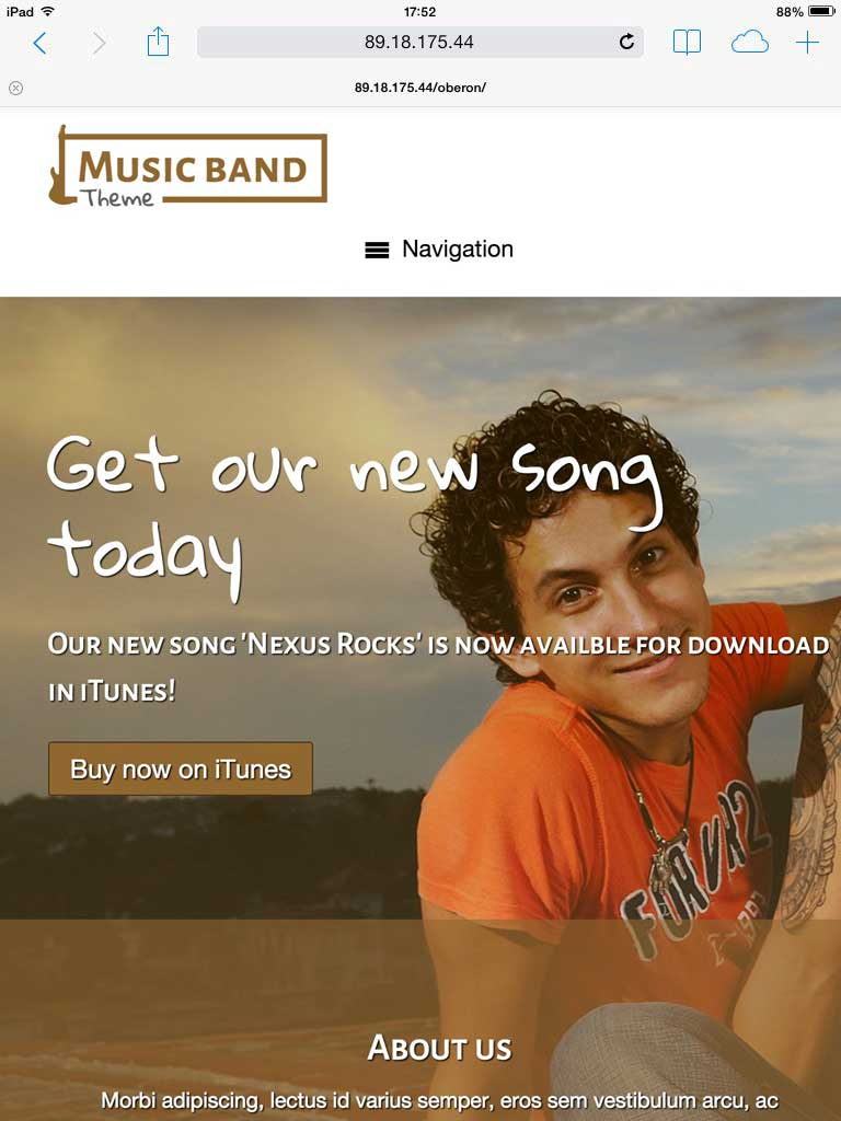 tablet screenshot Music Band WordPress Theme