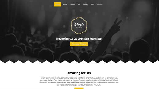 desktop screenshot Music Festival WordPress Theme