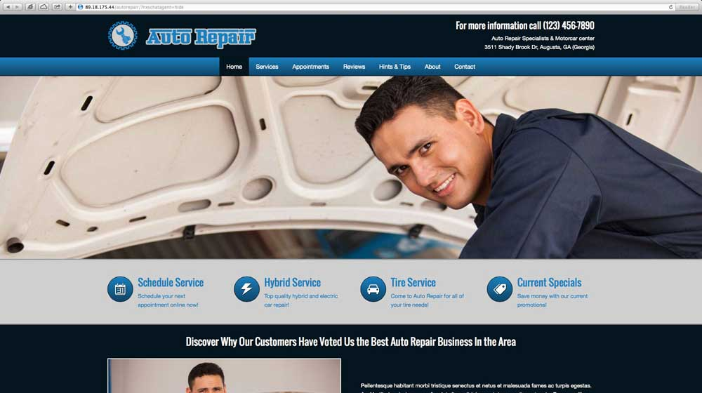 desktop screenshot Auto Repair WordPress Theme