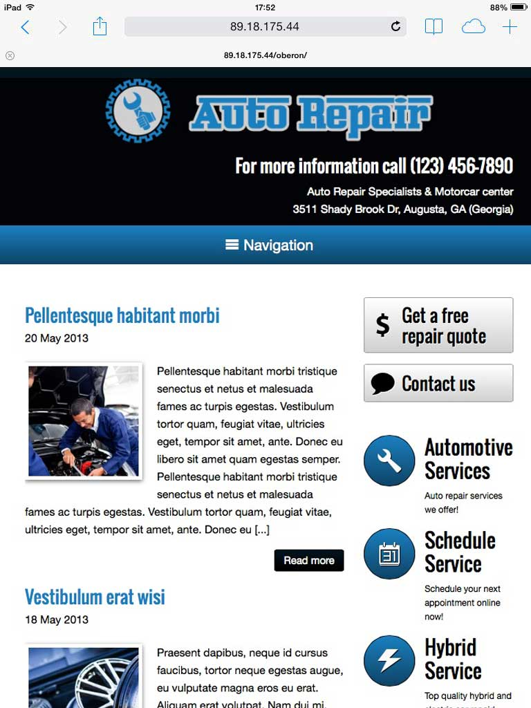tablet screenshot Auto Repair WordPress Theme