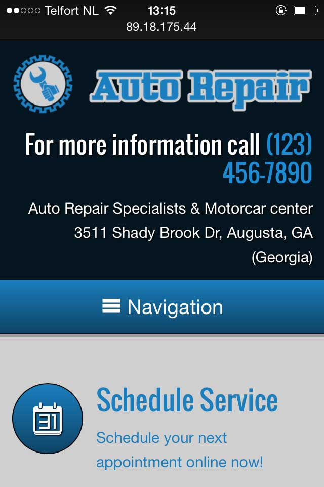 mobile phone screenshot Auto Repair WordPress Theme