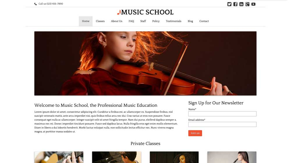 desktop screenshot Music School WordPress Theme