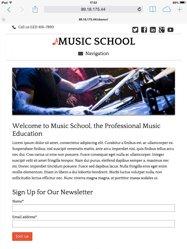 tablet screenshot Music School WordPress Theme