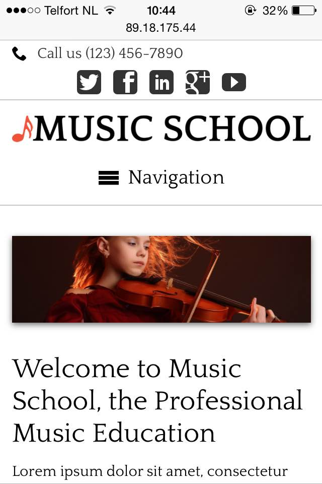 mobile phone screenshot Music School WordPress Theme