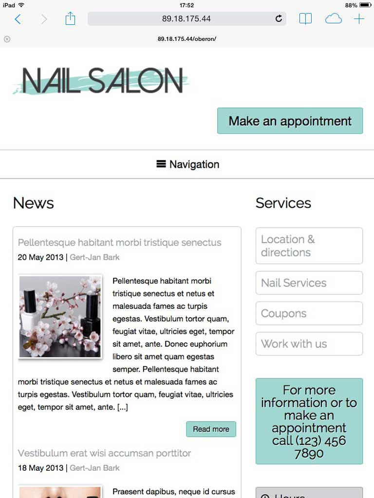 tablet screenshot Nail Salon WordPress Theme