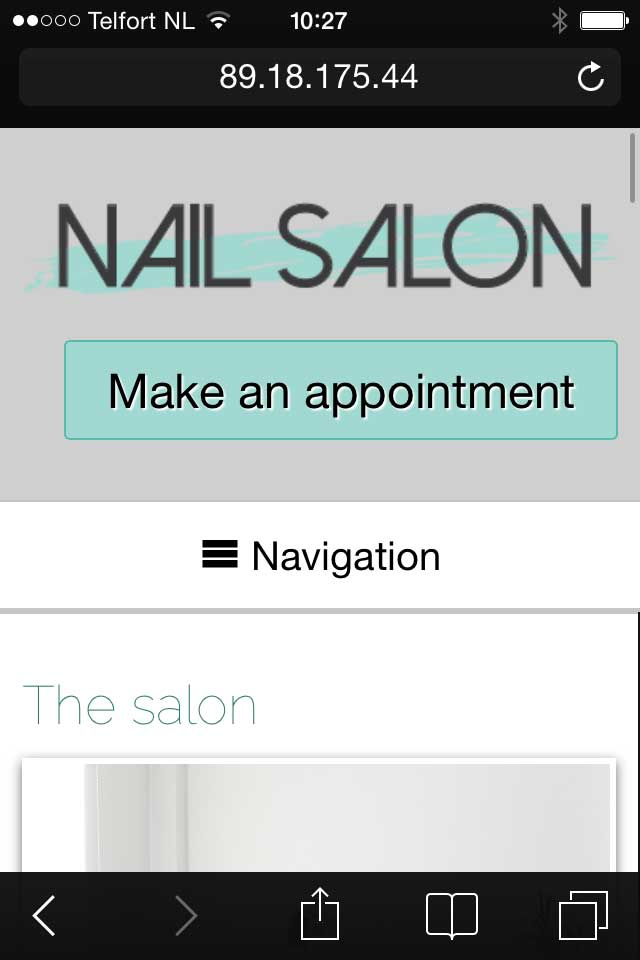 mobile phone screenshot Nail Salon WordPress Theme