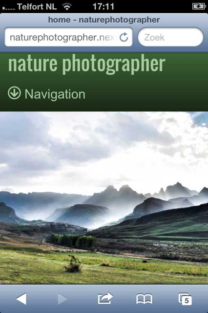 mobile phone screenshot Nature Photographer WordPress Theme