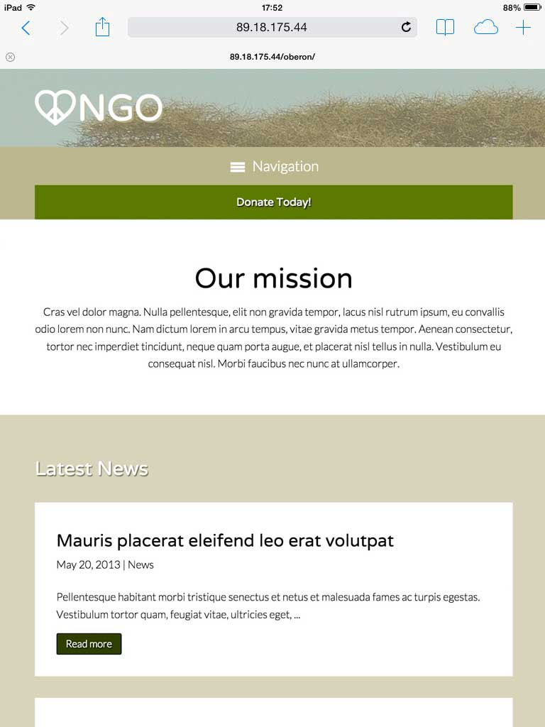 tablet screenshot NGO WordPress Theme