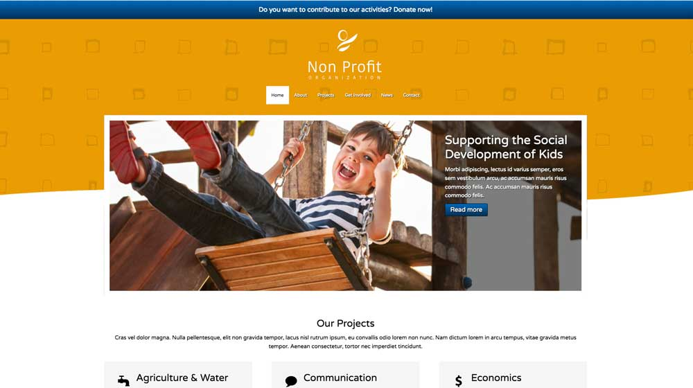 desktop screenshot Non-profit WordPress Theme