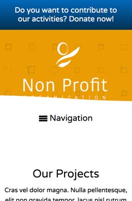 mobile phone screenshot Non-profit WordPress Theme