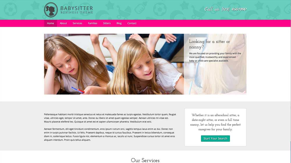 desktop screenshot Babysitter WordPress Theme