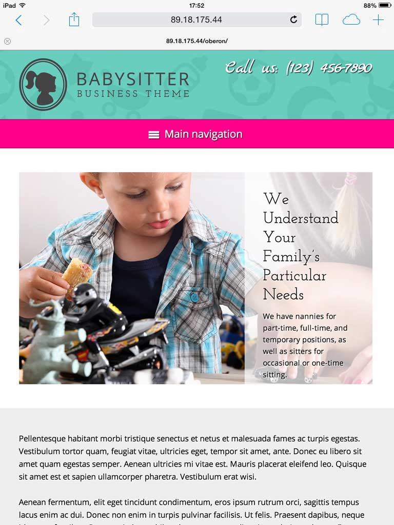 tablet screenshot Babysitter WordPress Theme