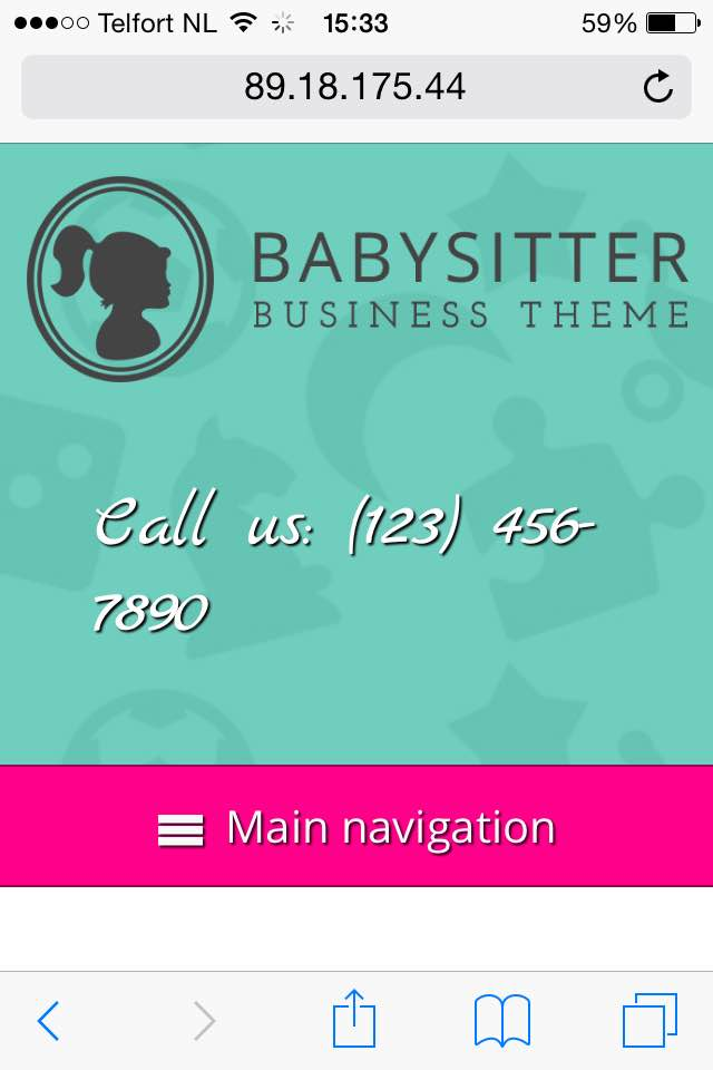 mobile phone screenshot Babysitter WordPress Theme