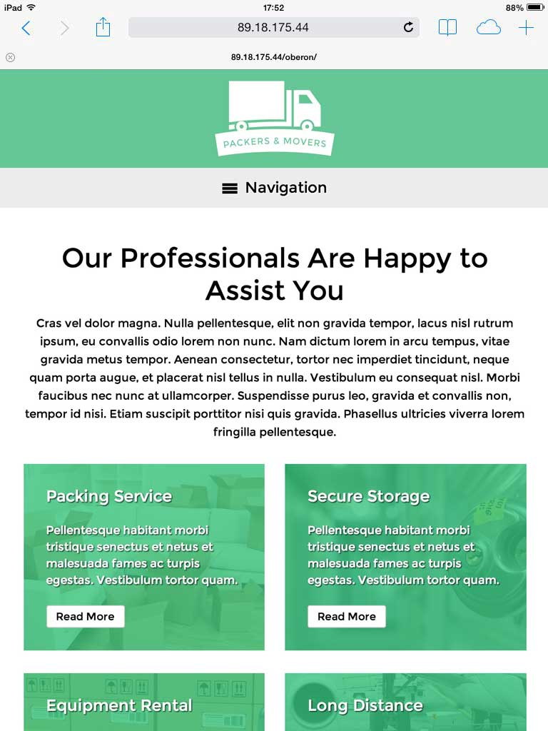 tablet screenshot Packers And Movers WordPress Theme