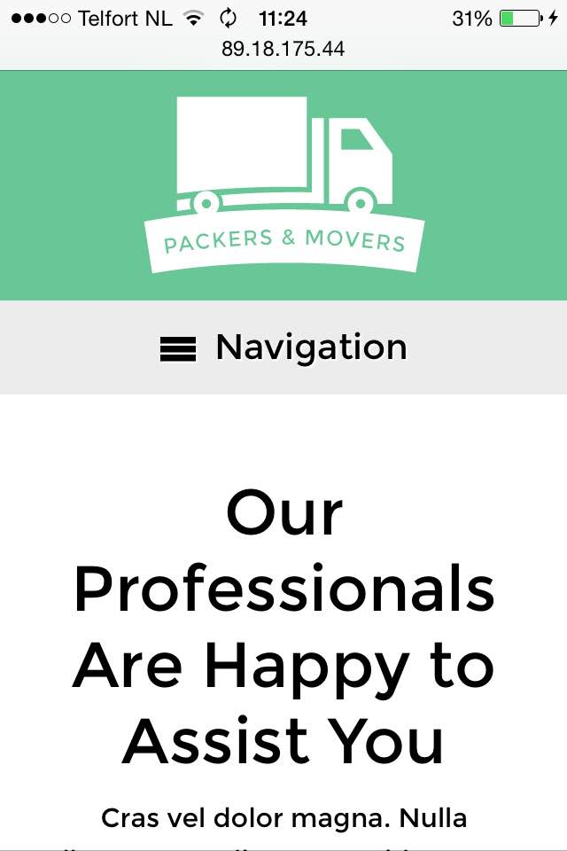 mobile phone screenshot Packers And Movers WordPress Theme