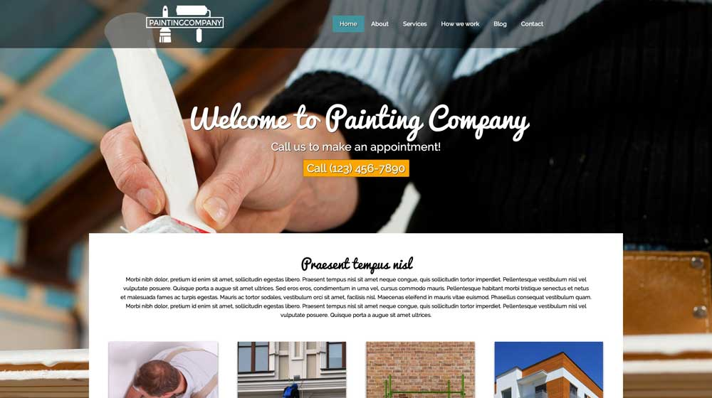 desktop screenshot Painting Company WordPress Theme