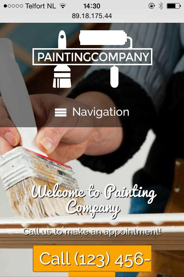 mobile phone screenshot Painting Company WordPress Theme