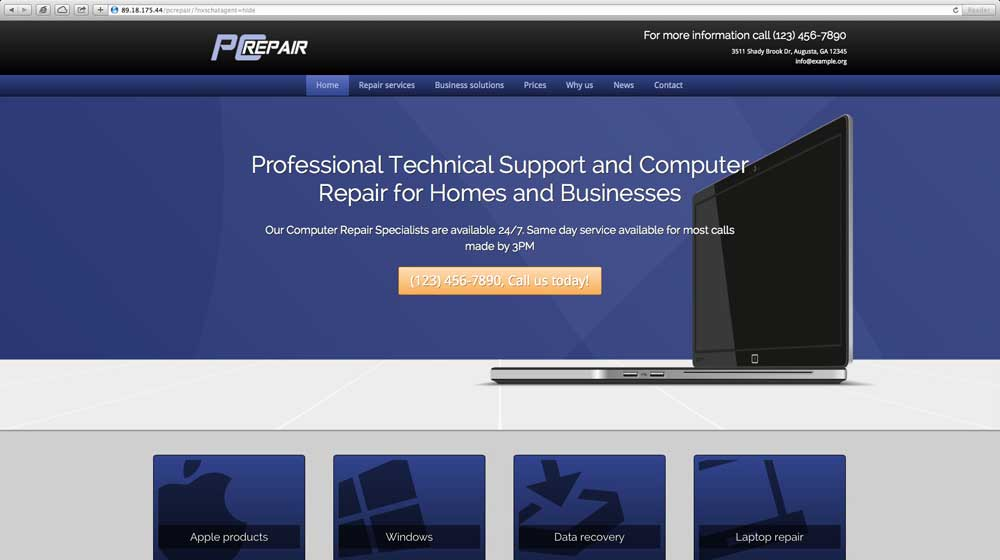 desktop screenshot PC Repair WordPress Theme