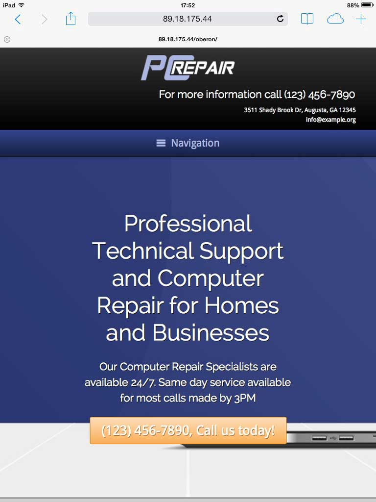 tablet screenshot PC Repair WordPress Theme