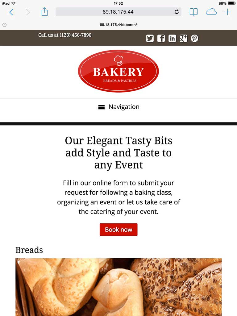 tablet screenshot Bakery WordPress Theme