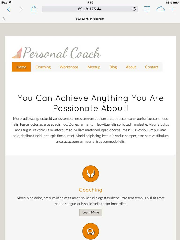 tablet screenshot Personal Coach WordPress Theme