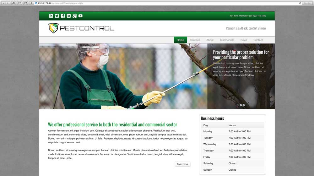 desktop screenshot Pest Control WordPress Theme