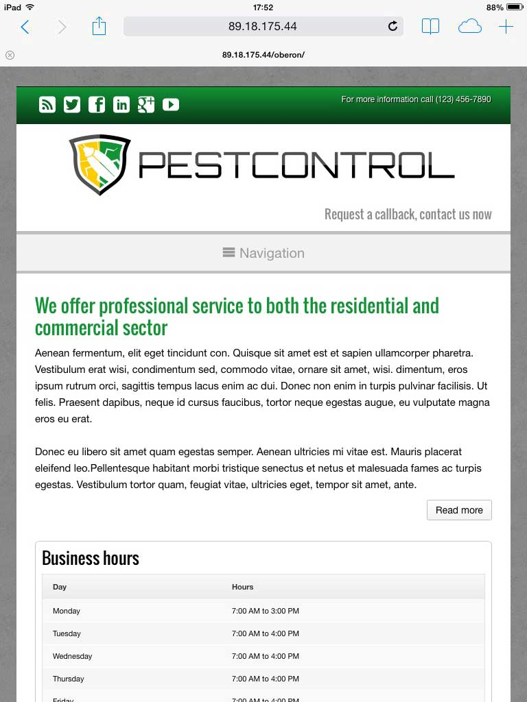 tablet screenshot Pest Control WordPress Theme