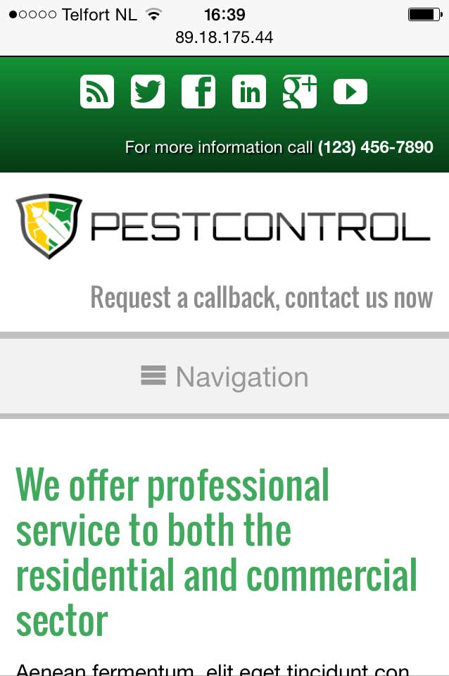 mobile phone screenshot Pest Control WordPress Theme