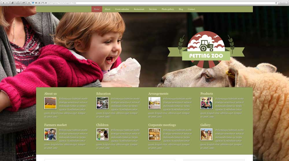 desktop screenshot Petting Zoo WordPress Theme