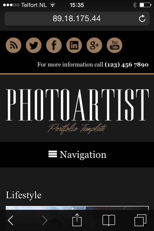mobile phone screenshot Photoartist WordPress Theme