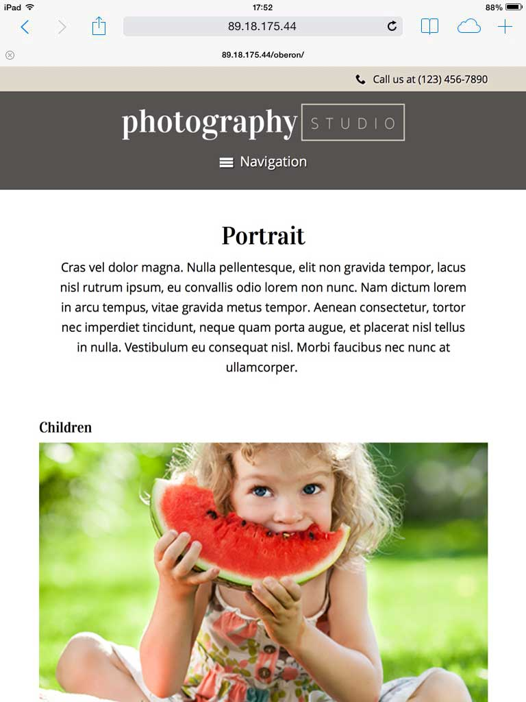 tablet screenshot Photography Studio WordPress Theme