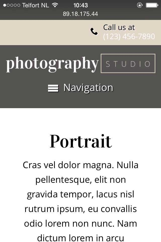 mobile phone screenshot Photography Studio WordPress Theme