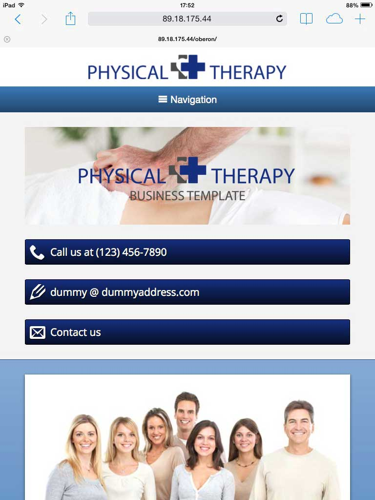tablet screenshot Physical Therapy WordPress Theme