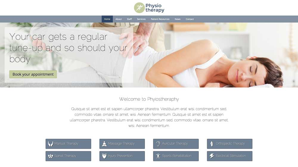 desktop screenshot Physiotherapy WordPress Theme