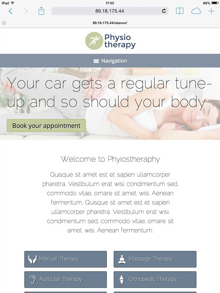 tablet screenshot Physiotherapy WordPress Theme
