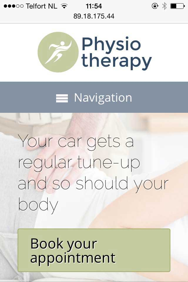 mobile phone screenshot Physiotherapy WordPress Theme