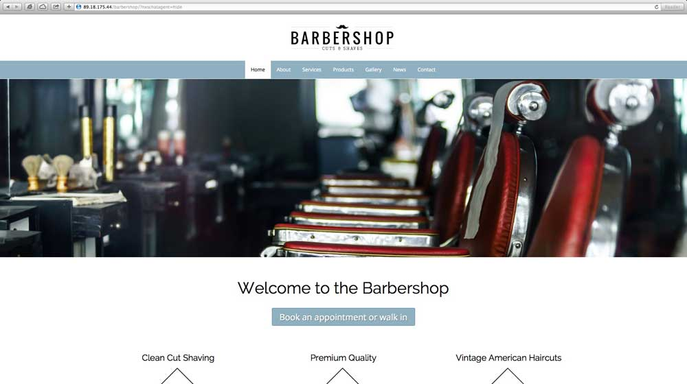 desktop screenshot Barber Shop WordPress Theme