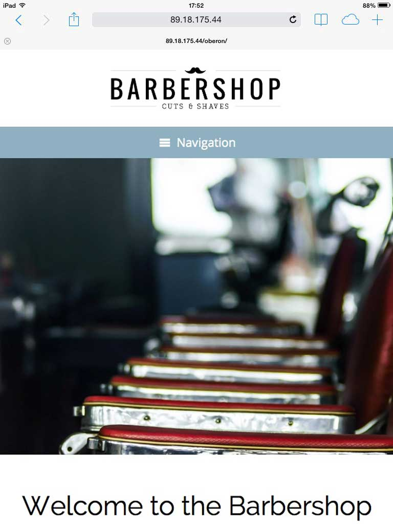 tablet screenshot Barber Shop WordPress Theme