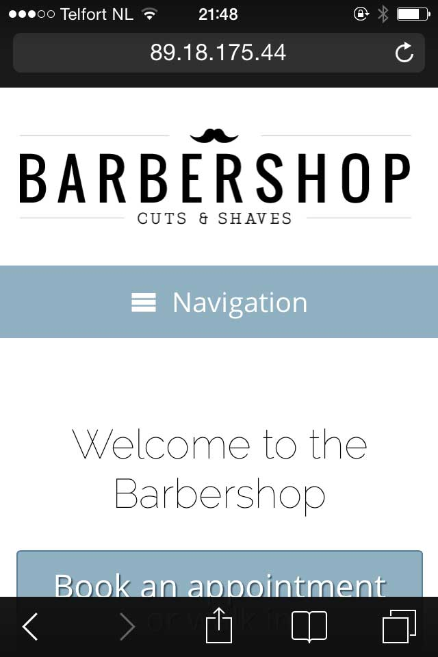 mobile phone screenshot Barber Shop WordPress Theme