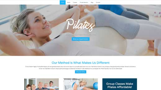 desktop screenshot Pilates WordPress Theme
