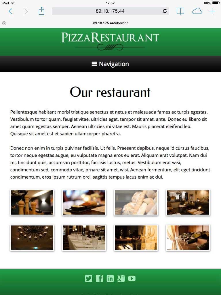 tablet screenshot Pizza Restaurant WordPress Theme