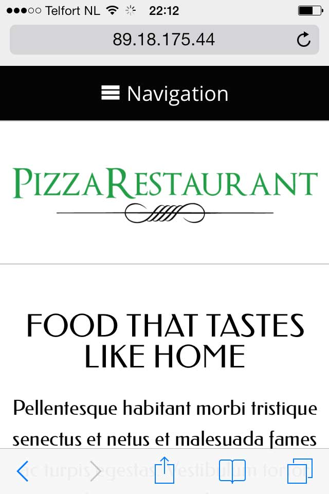 mobile phone screenshot Pizza Restaurant WordPress Theme