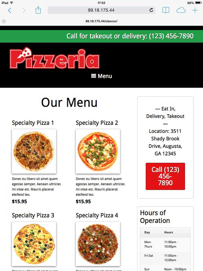tablet screenshot Pizzeria WordPress Theme