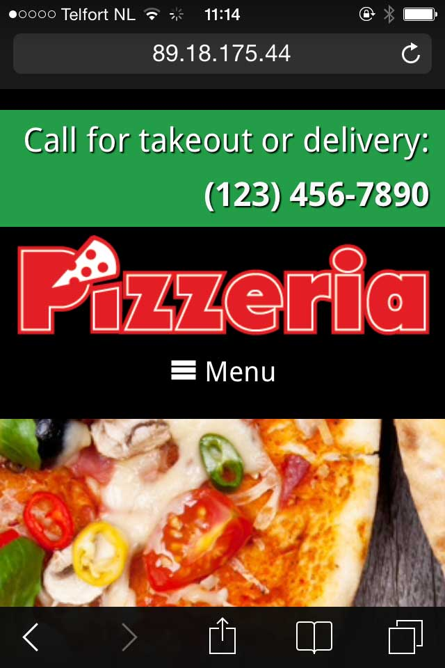 mobile phone screenshot Pizzeria WordPress Theme