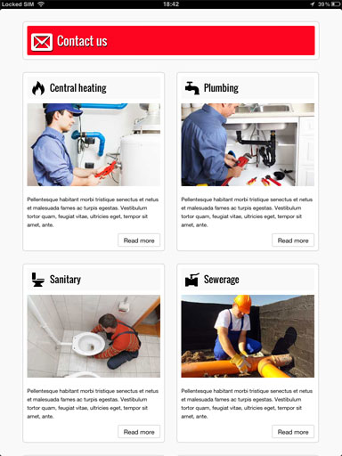 tablet screenshot Plumber WordPress Theme