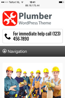 mobile phone screenshot Plumber WordPress Theme