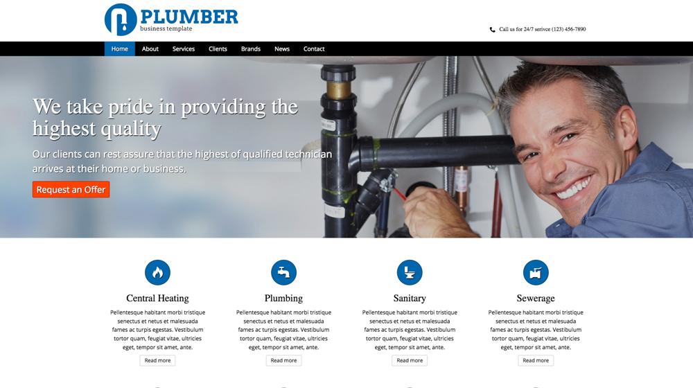 desktop screenshot Plumber WordPress Theme