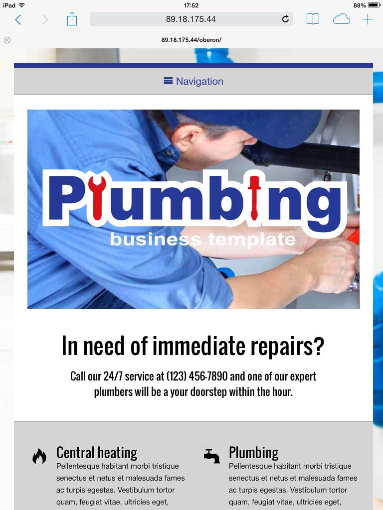 tablet screenshot Plumbing WordPress Theme