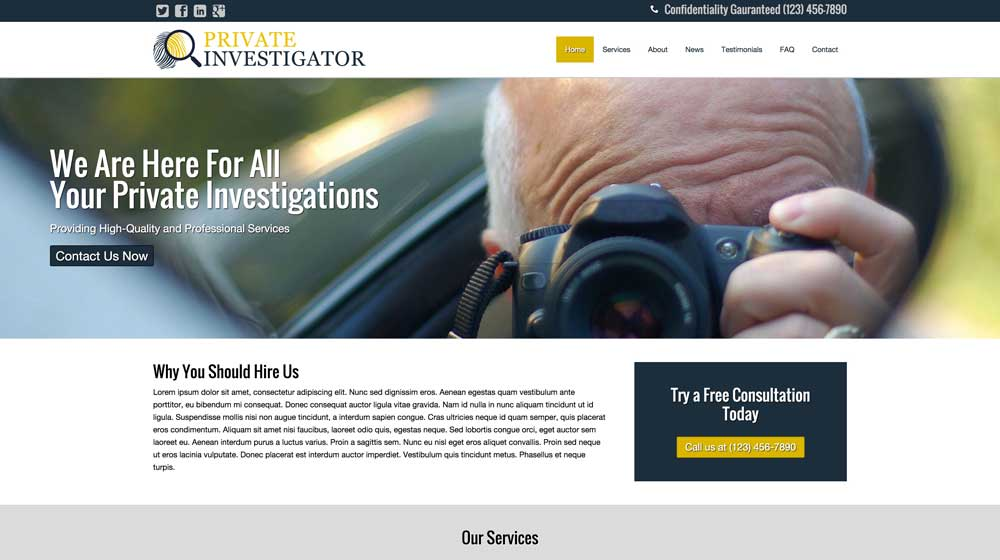 desktop screenshot Private Investigator WordPress Theme