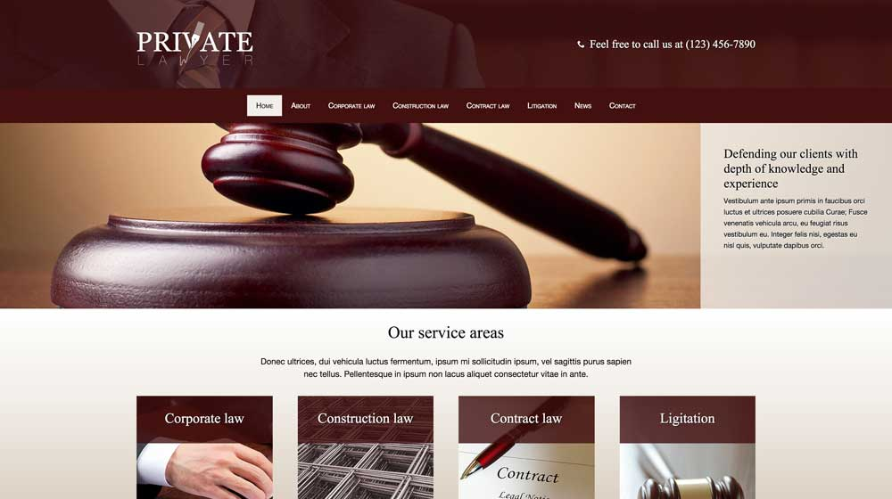 desktop screenshot Private Lawyer WordPress Theme